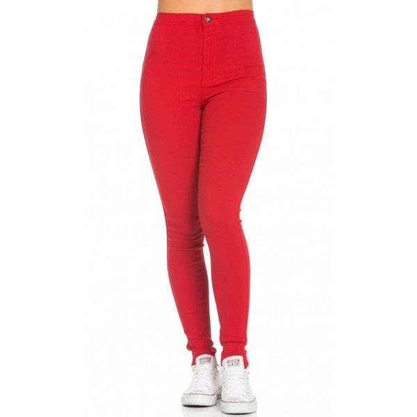 0820d328f64f7 Super High Waisted Stretchy Skinny Jeans in Red ($25) ❤ liked on Polyvore  featuring jeans, high-waisted jeans, slim fit jeans, high waisted jeans,  high ...
