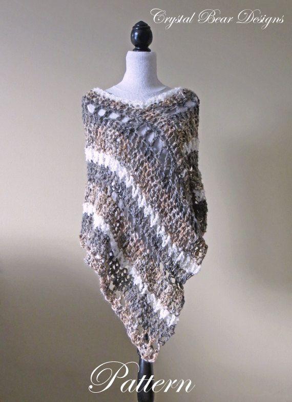 Crochet Poncho PATTERN / Asymmetrical Poncho / Striped Wrap / Easy ...