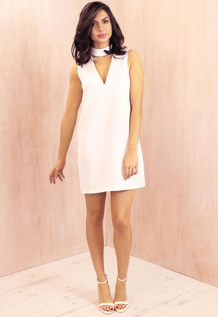 a6da50d408ef High Neck Band Cut Out Shift Dress in White - One Nation Clothing -  Glamorous - 1