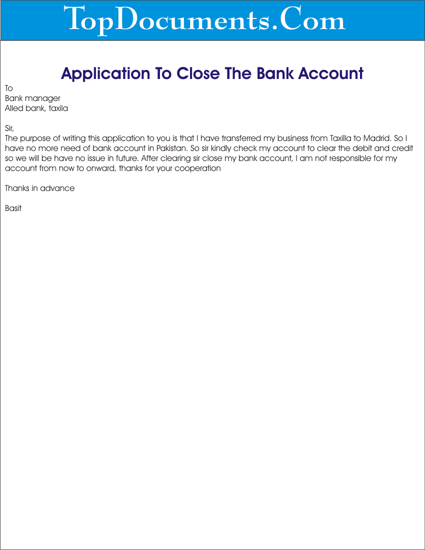 Sample Letter to Close Bank Account   Salary or Savings Bank