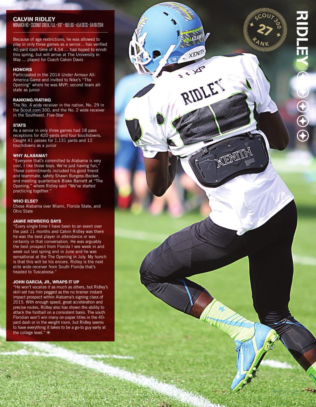 Calvin Ridley Wr Highly Touted 5 Star Prospect 2015 Alabama Recruit From The 2015 Bama Mag Recruiting Y Roll Tide Alabama Crimson Tide Alabama Football