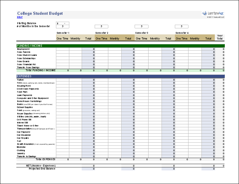 Vertex42 provides budget spreadsheets that work with Microsoft – College Search Worksheet