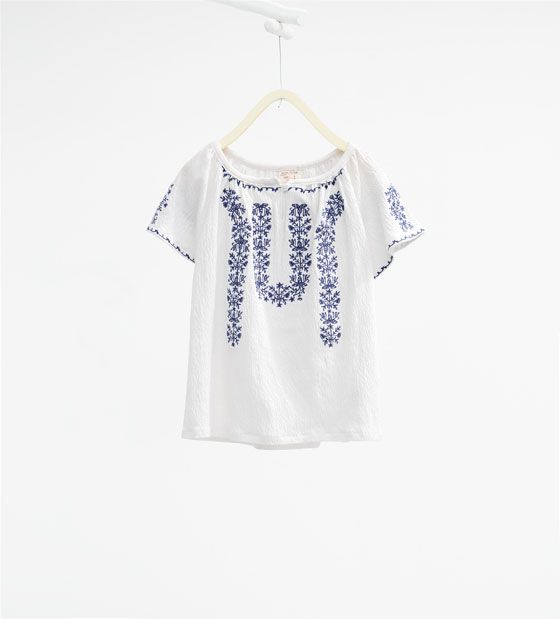 Image of embroidered t shirt from zara