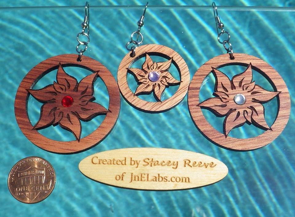 Edelweiss Wooden Earrings with Bling Wooden earrings