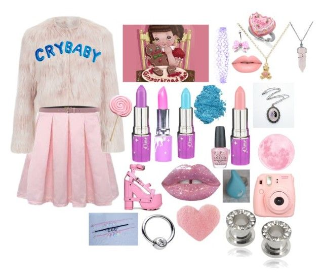 """""""MELANIE outfit #2"""" by jada-gonzales ❤ liked on Polyvore featuring RED Valentino, Lime Crime, Y.R.U., Accessorize, OPI, Dollhouse, Polaroid, Misbehave, Blugirl and Bling Jewelry"""