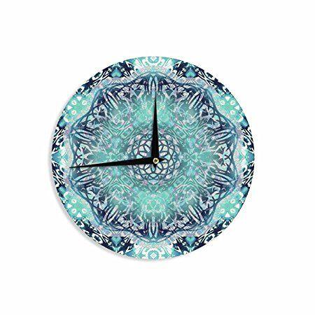 """KESS InHouse NM1093ACL01 Nina May """"Aqua Ikat Batik Mandala"""" Teal Blue Mixed Media Wall Clock, 12"""" Wall Clock"""