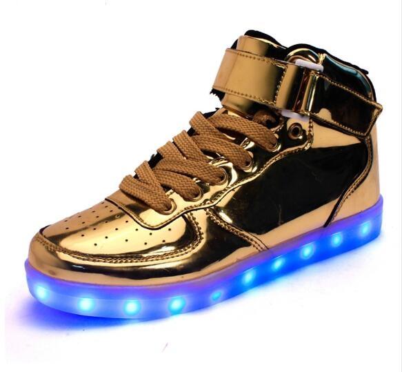 8 couleurs de LED lumineuses Chaussures Hommes Femmes Unisexe Sneakers Couple Mode Casual LED plat chaussures pour adultes USB Témoi 4VSpjBO