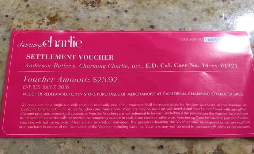 $25 92 Charming Charlie Voucher California In-Store Purchase