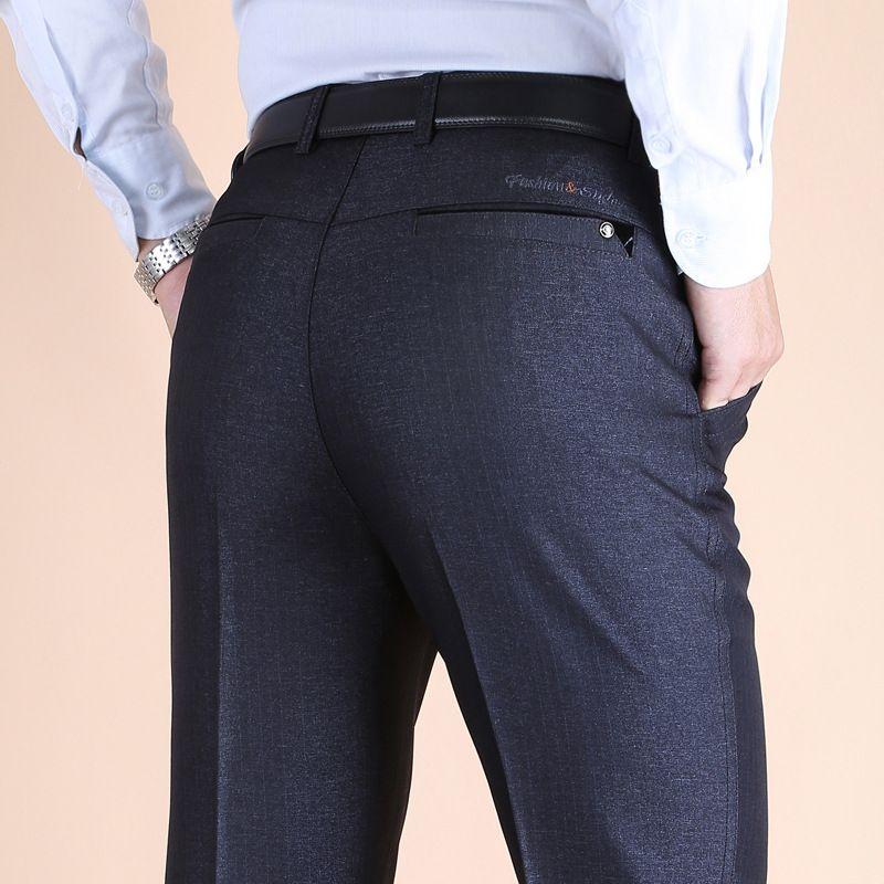 ff5d1240bfa Autumn and winter thick Anti wrinkle DP men s trousers high waist casual  suit pants men dress