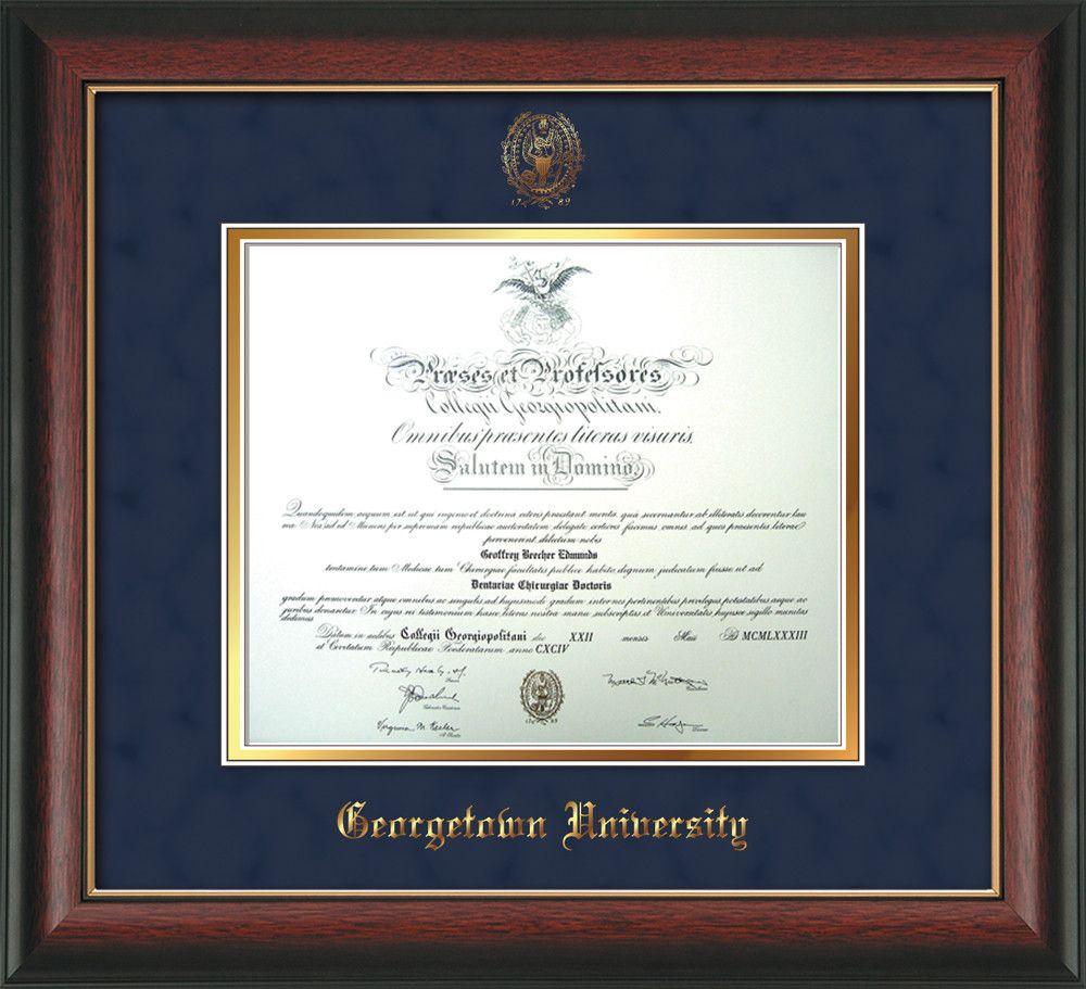 Georgetown U Diploma Frame - Rose Gold L - w/GU Seal - Navy Suede ...