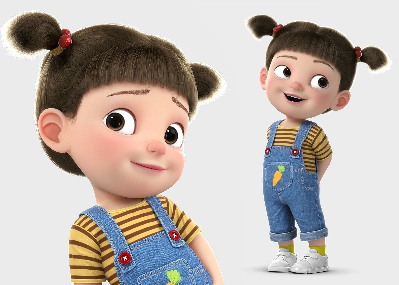 Cartoon Girl Rigged 3d Model Girl Cartoon Characters Baby Cartoon Characters Girl Cartoon