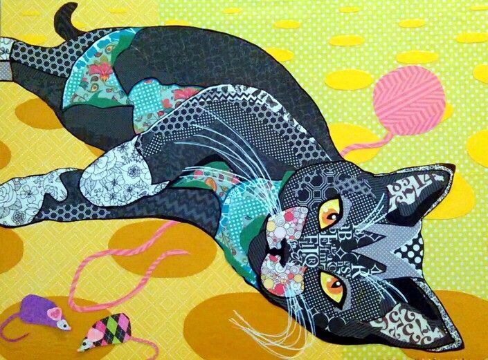 """Cut paper collage """"Cat Content"""" 32""""x24"""" by Laura Yager"""