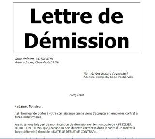 Modele Lettre De Demission Avec Preavis En Word Doc Lettre De Demission Modele De Lettre De Demission Modeles De Lettres