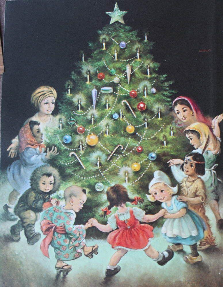 Children of the world christmas tree kroger 50s print o - Bilder weihnachtspost ...