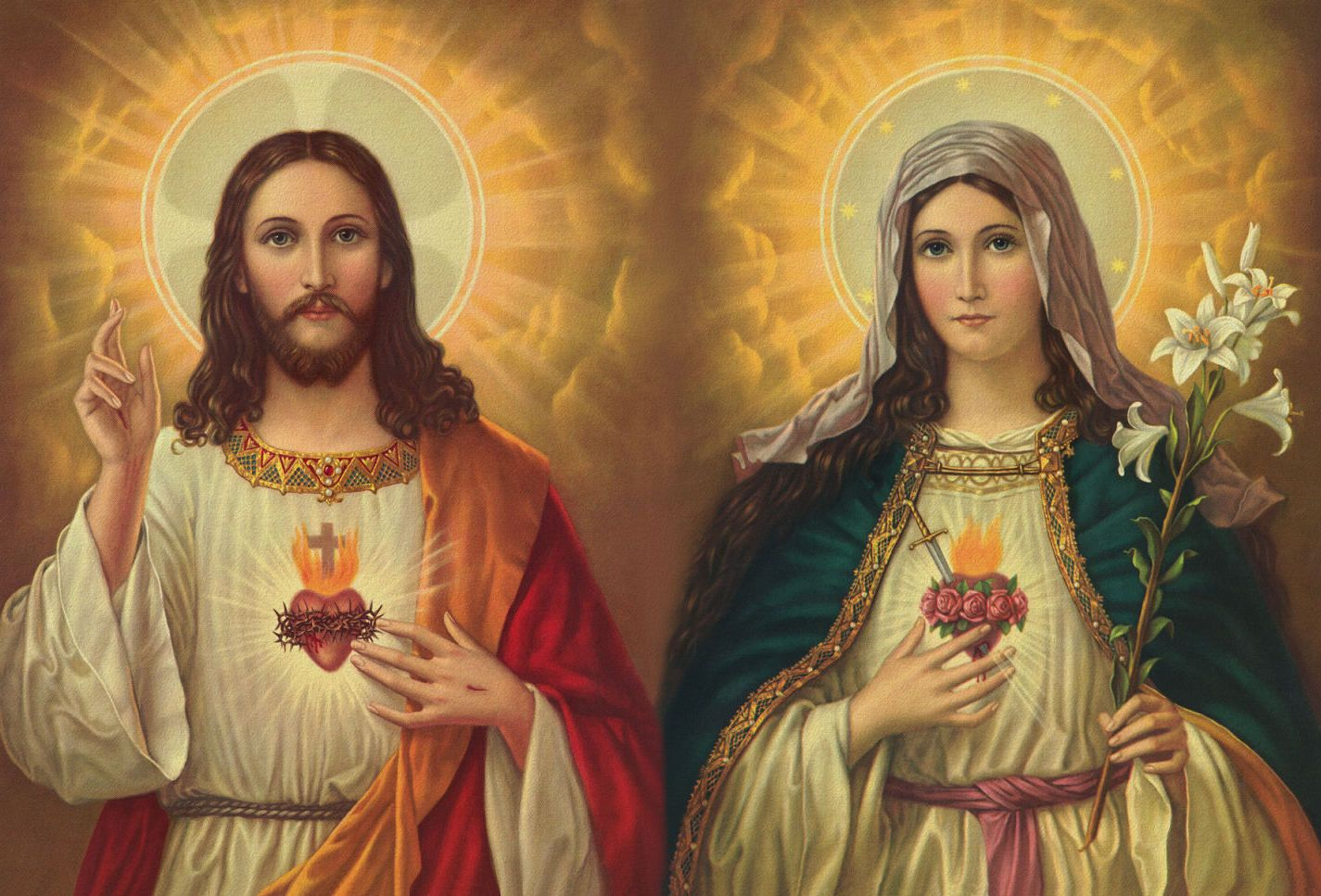 Images For Sacred Heart Of Jesus And Mary Wallpaper Holy