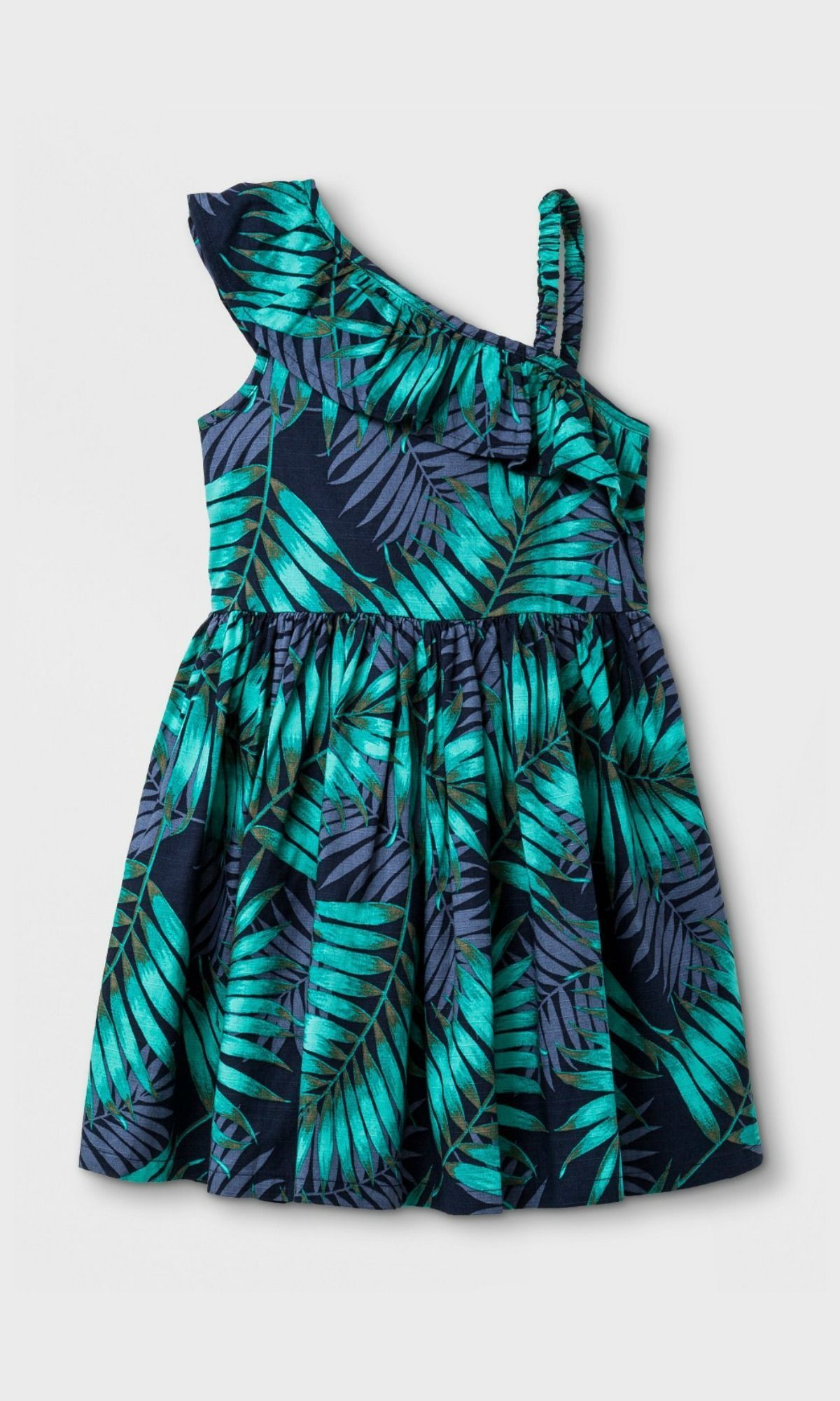 Palm leaf one shoulder dress for toddlers toddler affiliate
