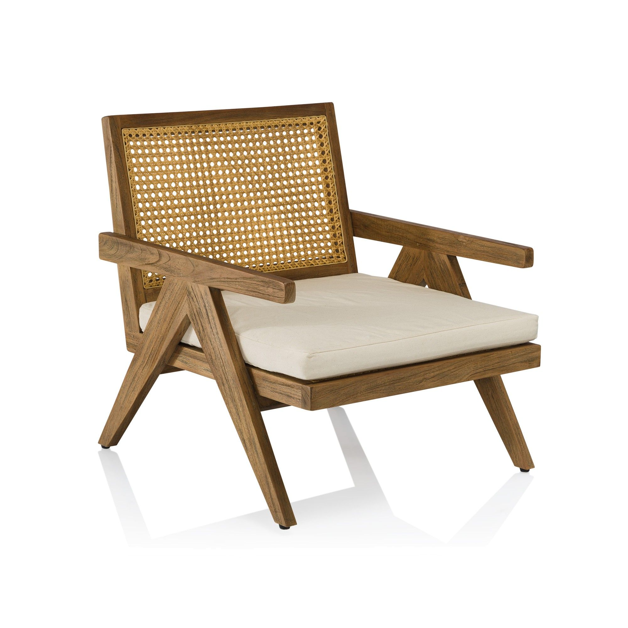 A contemporary teak and wicker outdoor occasional chair