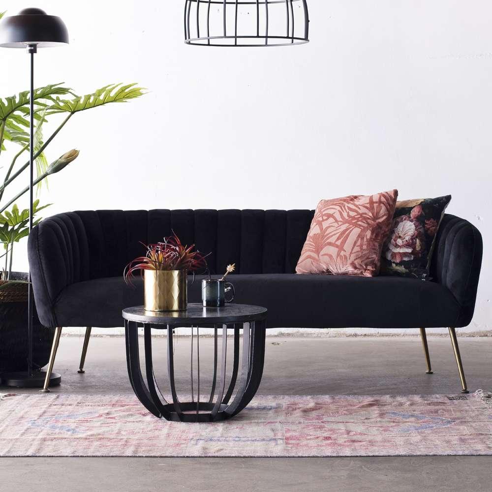 3 Sitzer Sofabank Sofa Amy 180 Cm Samt Schwarz Haus Deko Einrichten Und Wohnen Haus