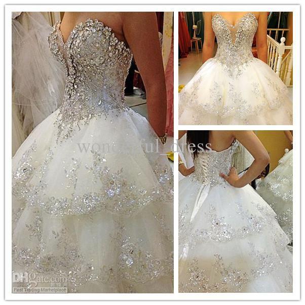 Wholesale Crystal Wedding Dress - Buy Ivory Rhinestone Beaded Appliques Sweetheart A-Line Chapel Train Wedding Dresses Bridal Gowns H-611, $225.0   DHgate