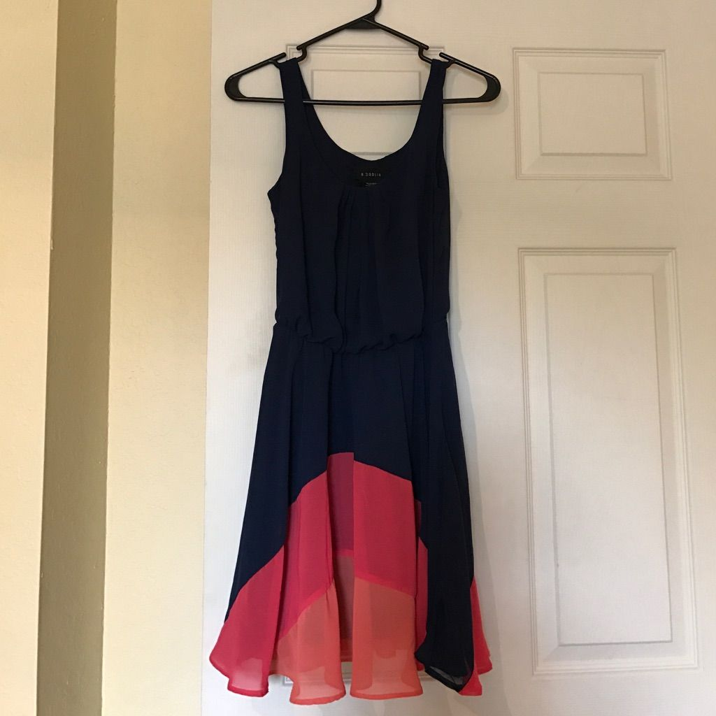 Navy Color Block Dress