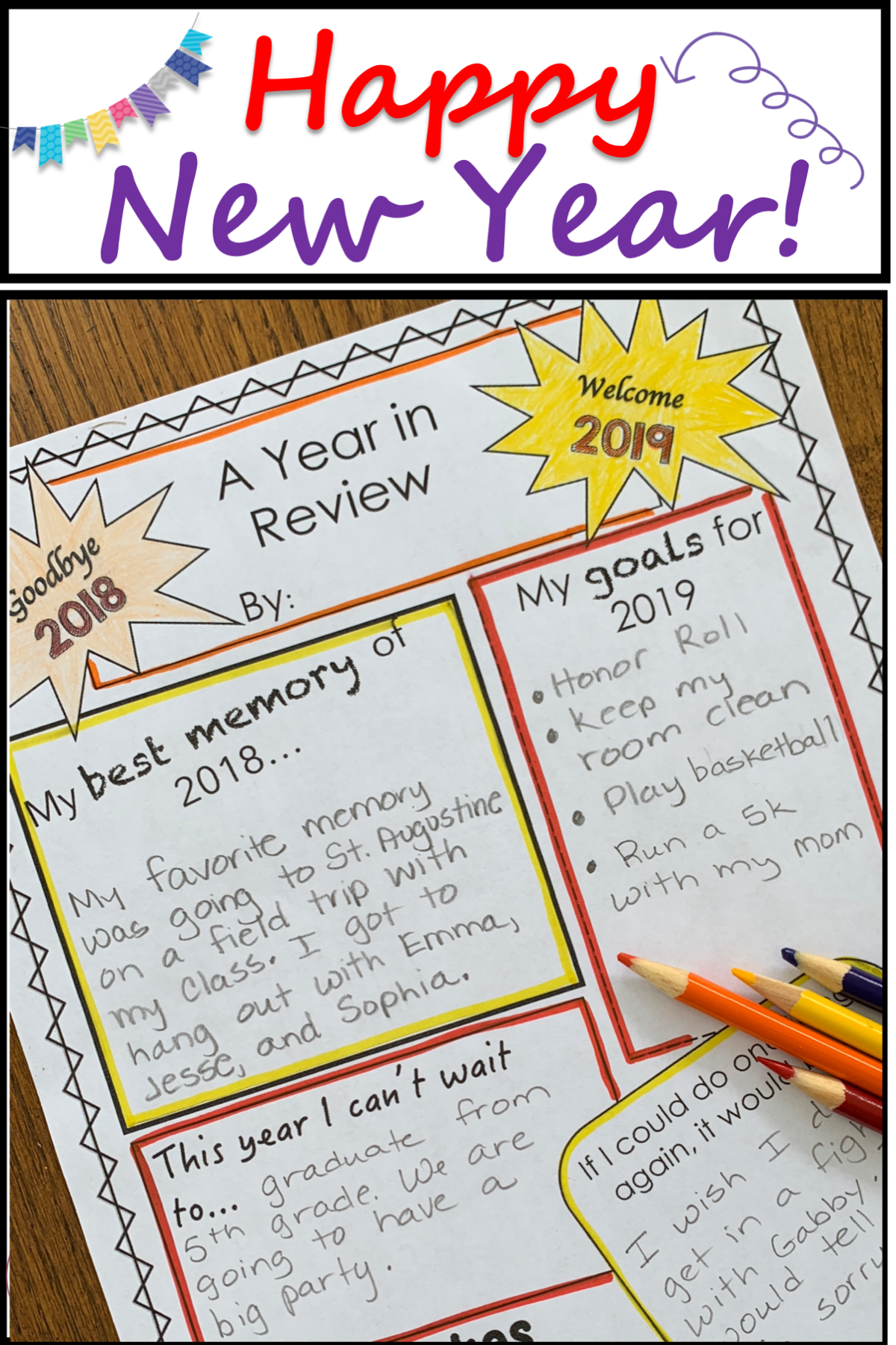 Students Will Love Sharing Their 2019 New Years Resolutions This Worksheet Is The Perfect New Years Activities Afterschool Activities Winter Break Activities