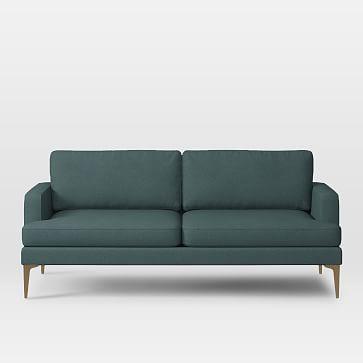 """Andes 76.5""""Sofa, Twisted Slub, Blue Teal, Blackened Brass"""