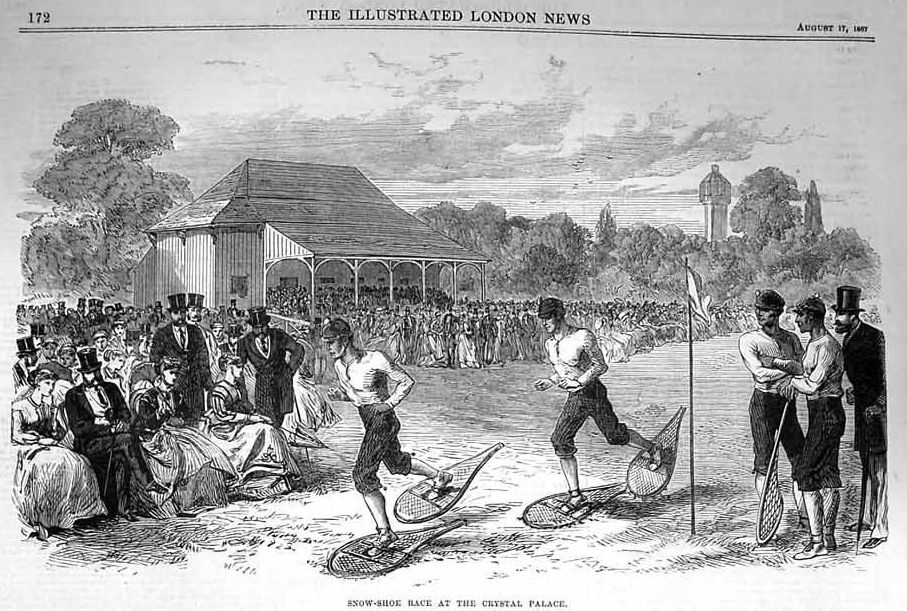 summer 1867, London snowshoe race at the Crystal Palace