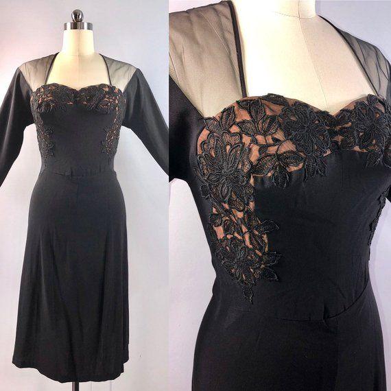 c0eabe591 Dorothy O Hara 40s Dress Vintage 1940s Black Crepe Illusion 38 bust  Cocktail Femme Fatale