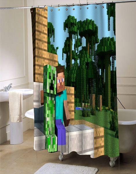 Steve Minecraft Shower Curtain Showercurtain Showercurtains Curtains Bath Bathroom Funnycurtain Cutecurtain