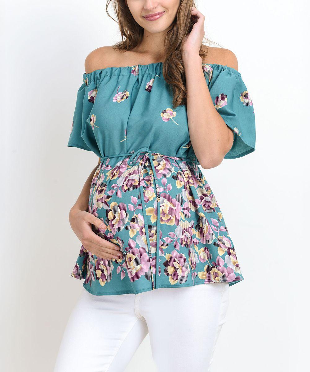 b6908664712 Hello Miz Mint Floral Maternity Off-Shoulder Top