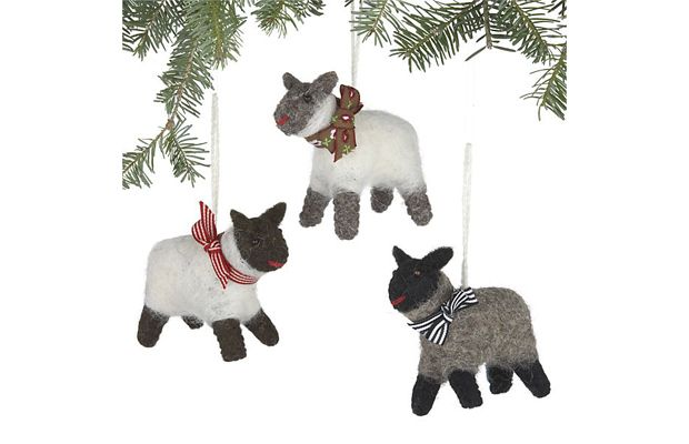 Wooly Sheep Ornaments by Crate  Barrel Christmas Pinterest