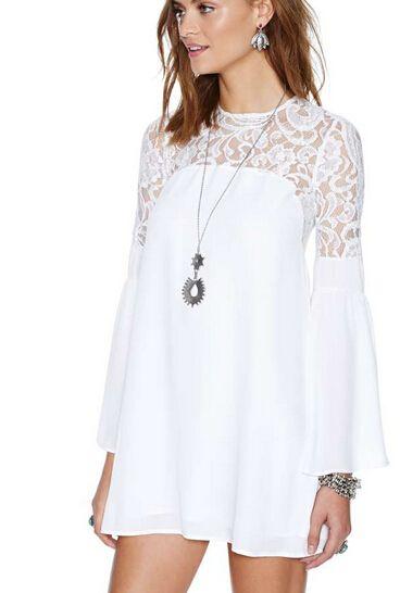 e764e7adc6 las mujeres semi blanco de encaje pura manga de campana del recorte de  nuevo vestido de princesa