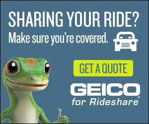 geico gecco with thumbs up rideshare