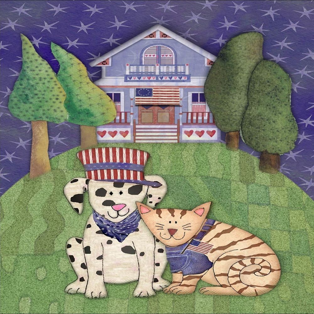 Details about Cat dog USA flag dress house patriot kitty