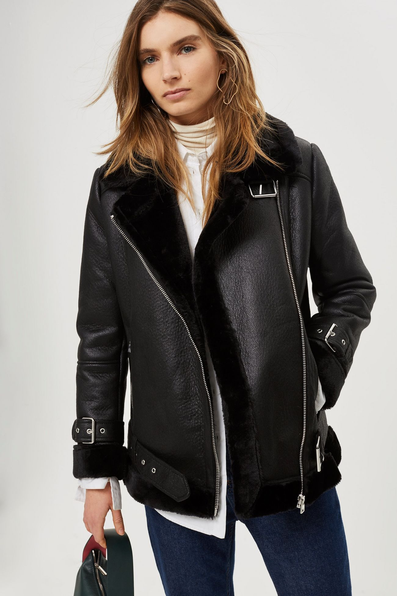 Faux Shearling Biker Jacket Biker jacket, Jackets, Clothes