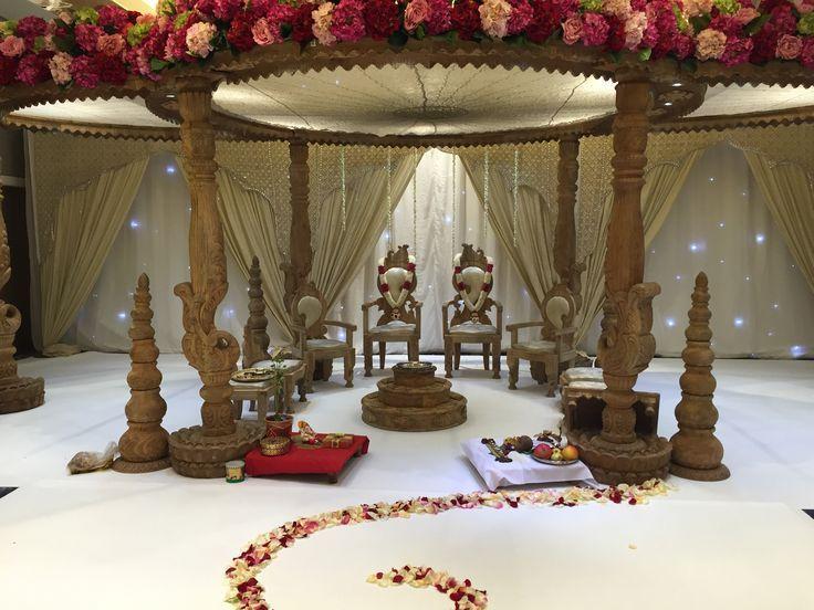 Mandap Hindu Wedding Ceremony with thrones, flower garlands and starlit backdrop  - Asian Weddings -