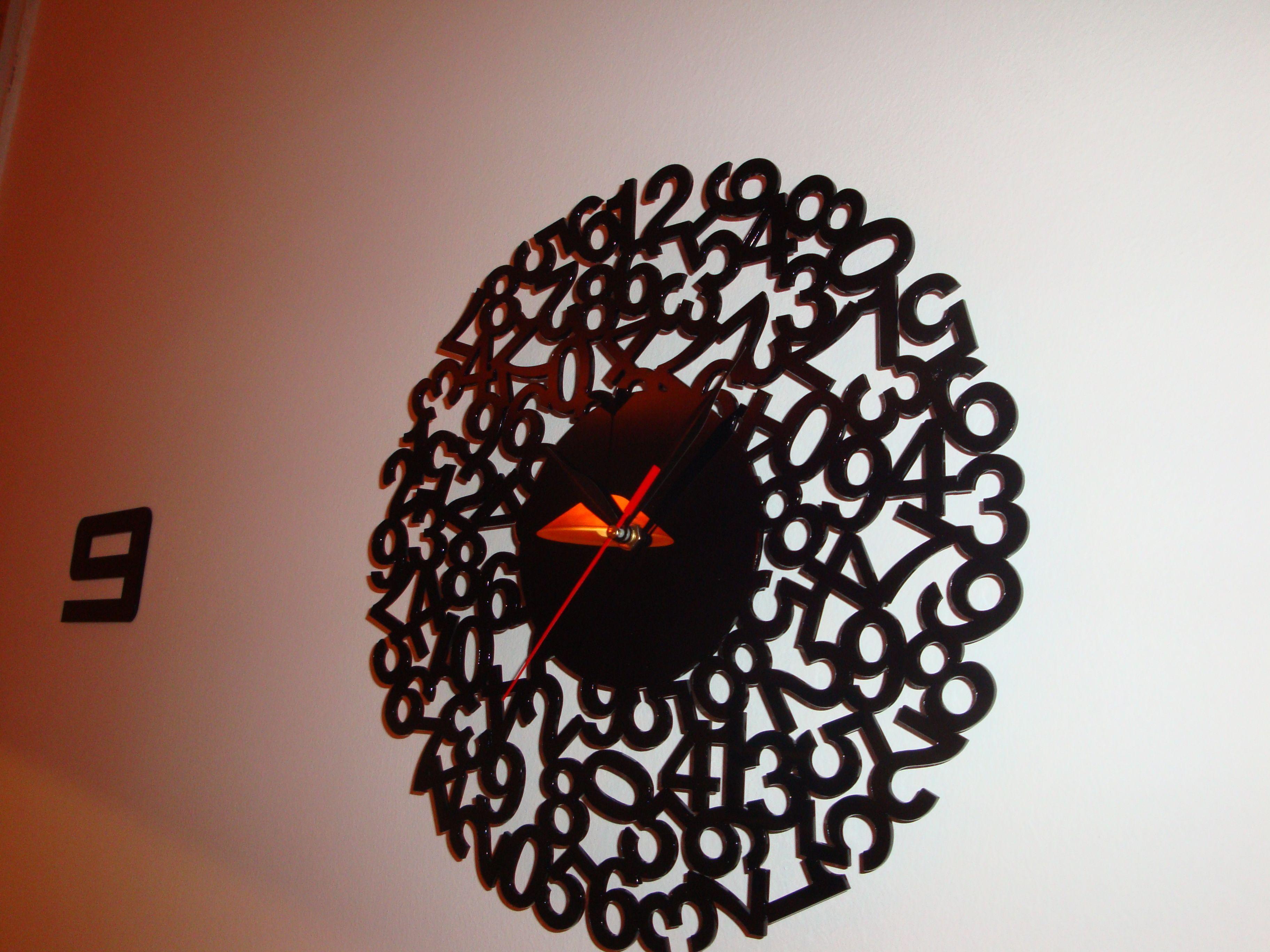 Tic-Tac. Black plexiglass laser cut clock!