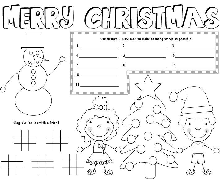 Christmas Placemats Free Printable Games Kids Decorations