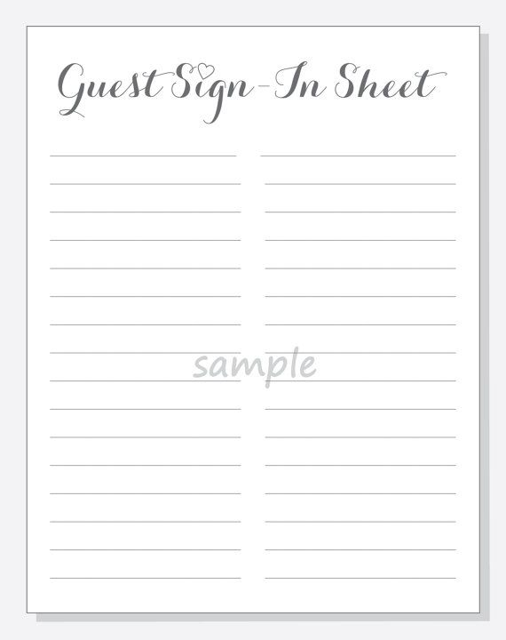 DIY Guest Sign-In Sheet Printable for a by LilCubbyPrintables - sample new hire checklist template