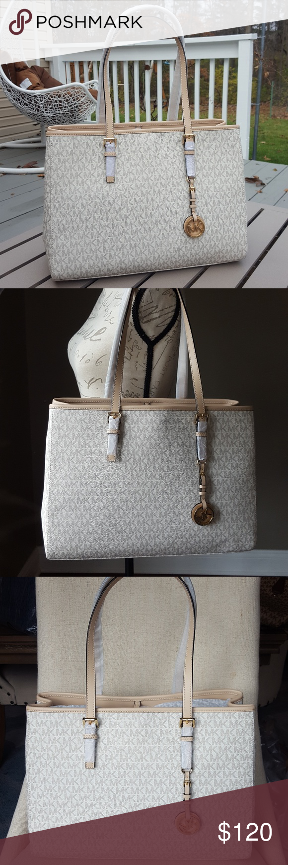 3e0bb60da53b84 NWT Michael Kors jet set travel LG EW tote vanilla FIRM PRICE - THANK YOU  BRAND NEW IN FACTORY WRAPPING 100% guaranteed authentic NWT Michael Kors  large jet ...