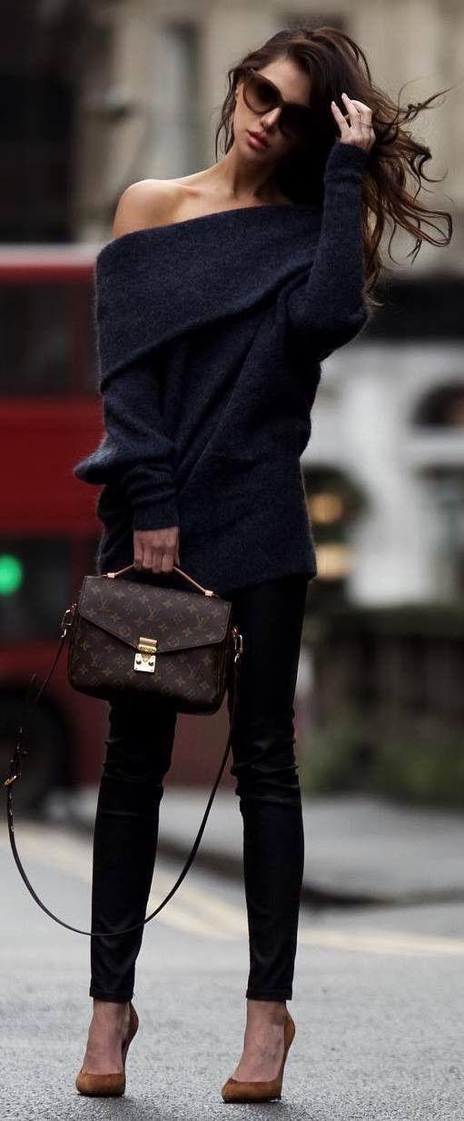 cool outfit / one shoulder sweater bag skinnies heels