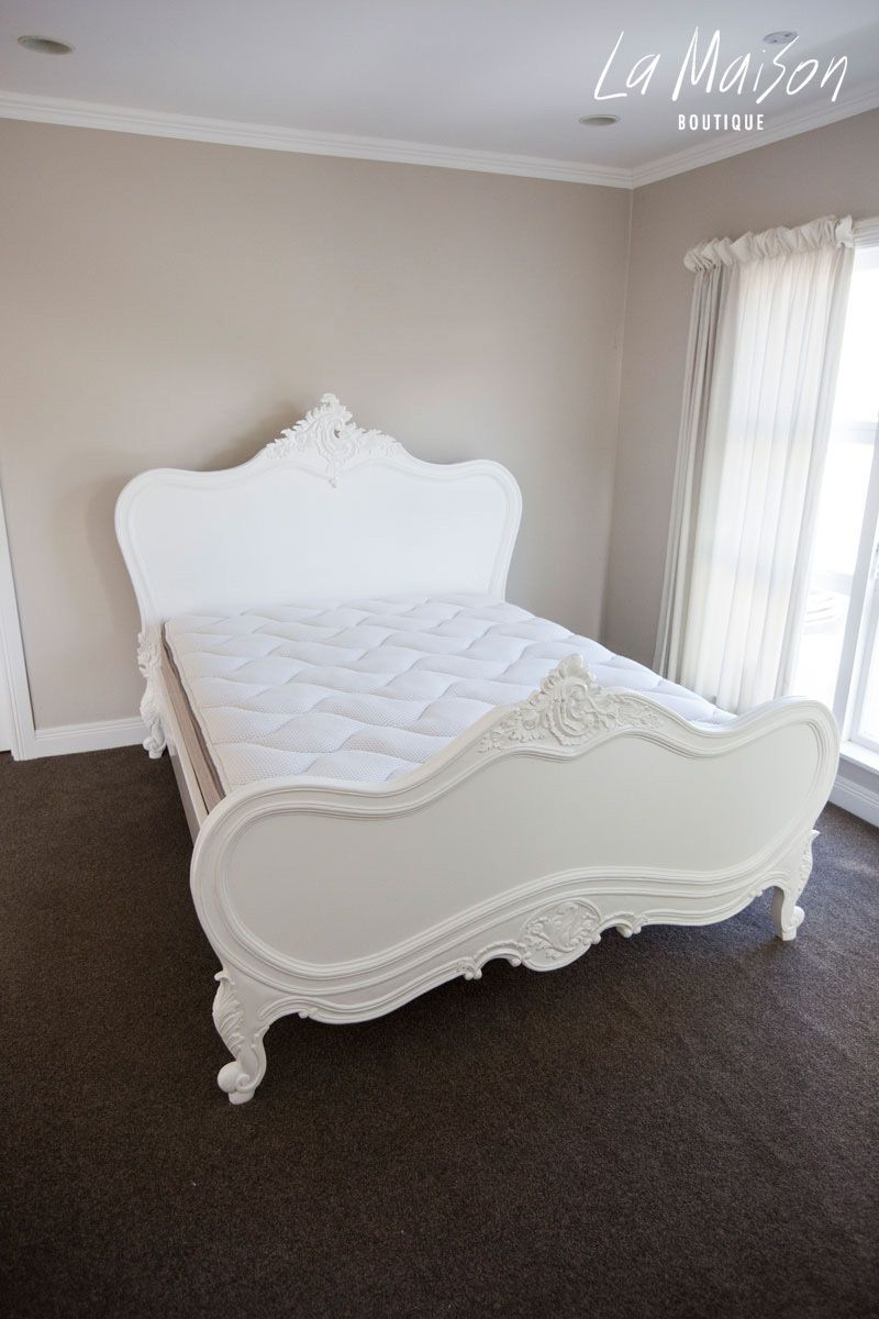 Provencal Classic Bed Pure White Queen Size Headboard Bed