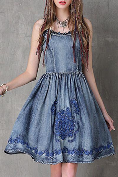 Embroidery Cami Denim Dress
