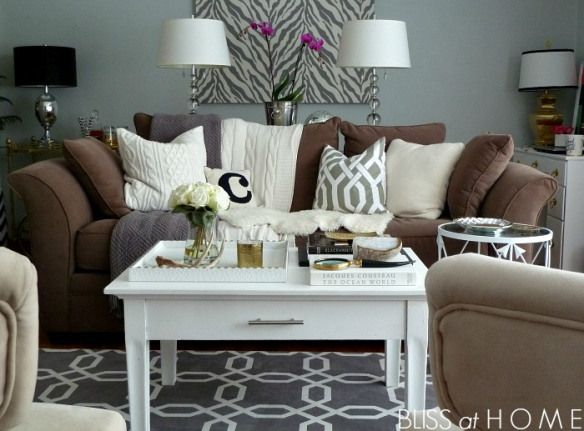 Like the browns and grey 39 s with white accents apartment - How to decorate a gray living room ...