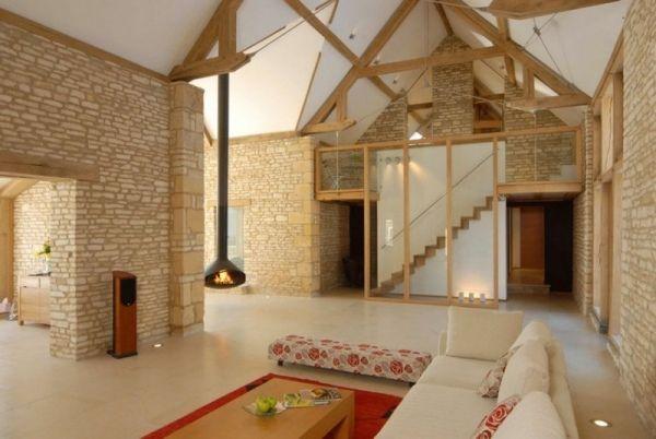 umgebaute scheune interieur design natursteinwand wohnzimmer scheune pinterest. Black Bedroom Furniture Sets. Home Design Ideas