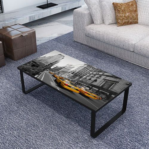 glass top coffee table living room modern style rectangle ...