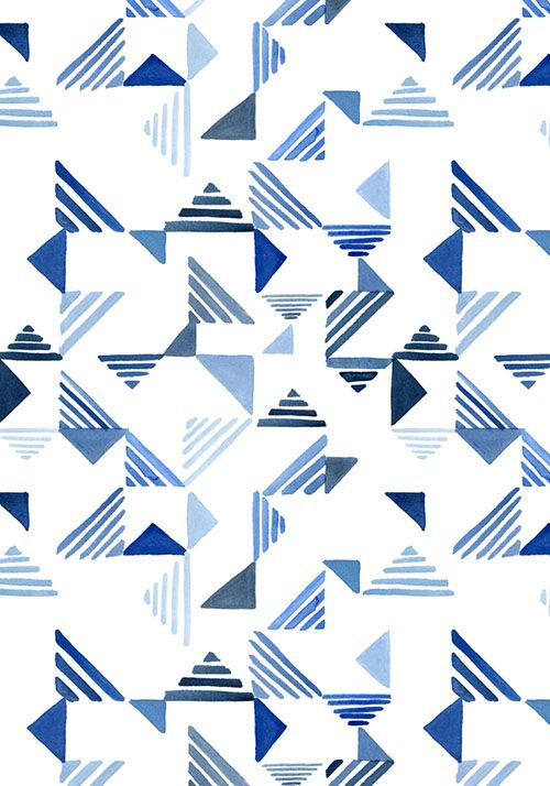 Indigo Triangles surface pattern / Yao Cheng Design | Broken