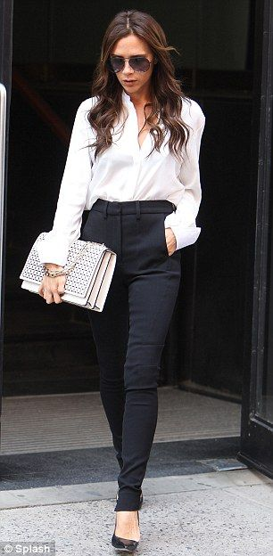 New  Striped Black And White Shirt Finish The Look By Adding White Pumps