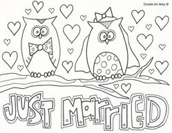 Just Married Doodle Wedding Coloring Pages Coloring Pages