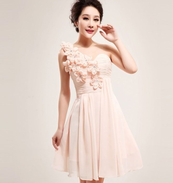 Aliexpress.com :  One Shoulder Hand Made Flower Ruffles Padded Bridesmaid Dress Sexy Short Bridesmaid Dresses 432 from Reliable bridesmaid short dress suppliers on fashiondress $56.00